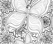 Coloring pages Beautiful Butterfly and Flowers