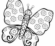 Coloring pages Butterfly decorated in flowers