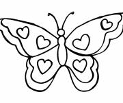 Coloring pages Butterfly in hearts