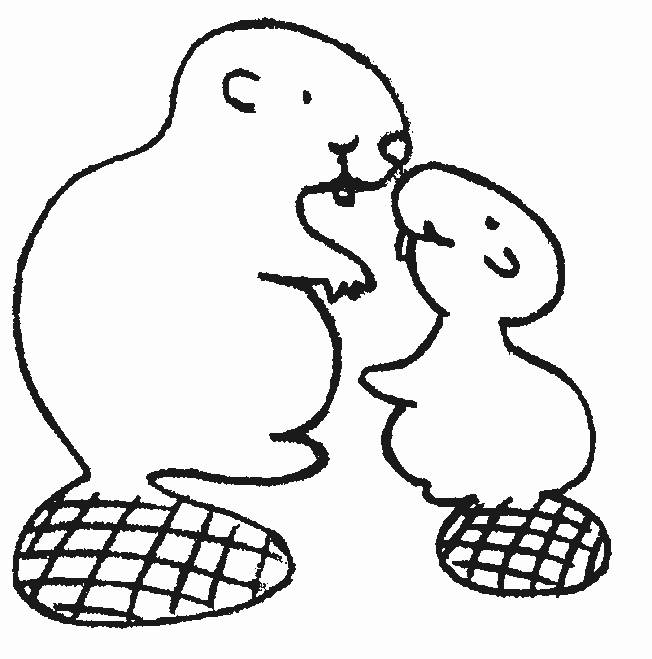 Free coloring and drawings Beaver and his cub Coloring page