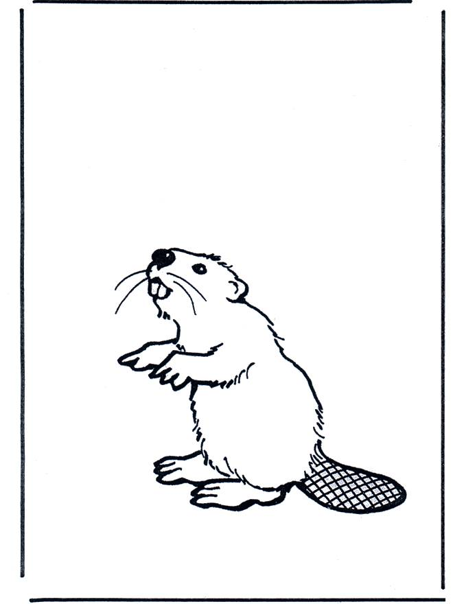 Free coloring and drawings Beaver easy to cut Coloring page