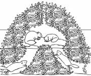 Coloring pages Beaver family at home
