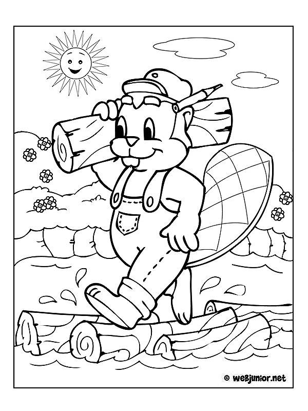 Free coloring and drawings Beaver The Carpenter Coloring page