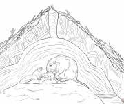Coloring pages Beavers at their house