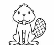Coloring pages Calm Little Beaver