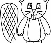 Coloring pages Cute beaver in black