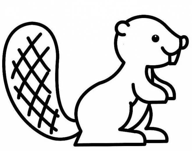 Free coloring and drawings Stylized beaver Coloring page