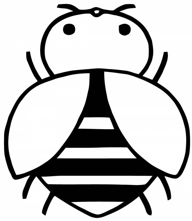 Free coloring and drawings A big stylized bee Coloring page