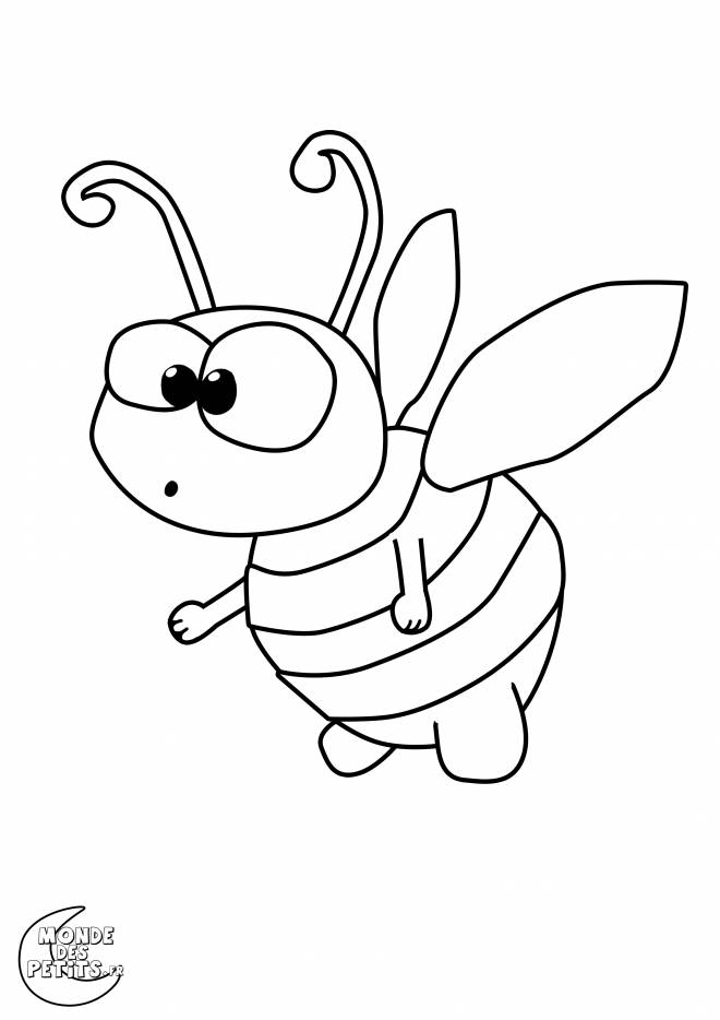 Free coloring and drawings A humorous bee Coloring page