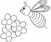 Free coloring and drawings Bee and Flowers in Spring Coloring page