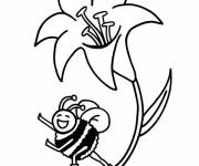 Coloring pages Bee and Lotus in Spring