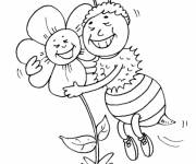 Coloring pages Bee and Rose in love