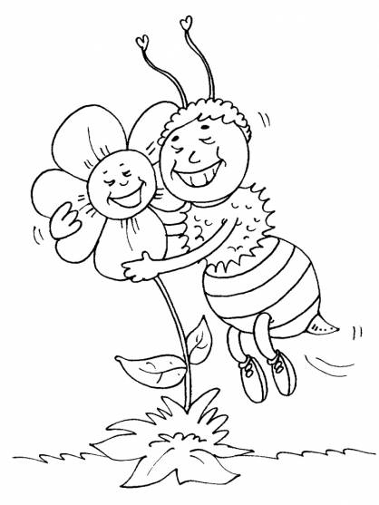Free coloring and drawings Bee and Rose in love Coloring page