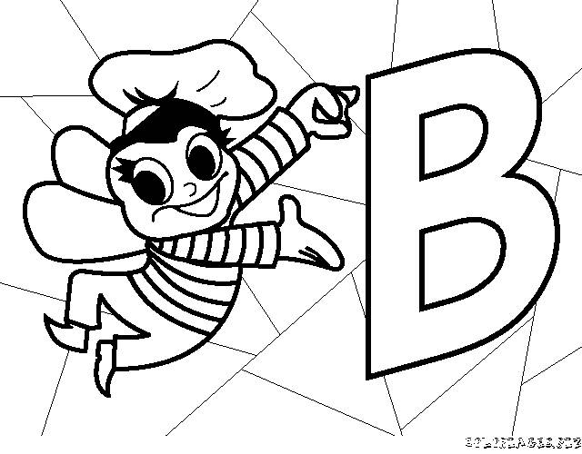Free coloring and drawings Bee and The Letter B Coloring page