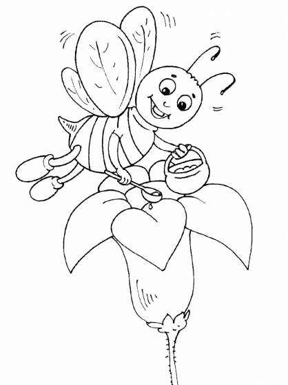Free coloring and drawings Bee collects honey Coloring page