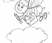 Free coloring and drawings Bee goes to school Coloring page