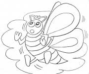 Free coloring and drawings Bee in black and white Coloring page