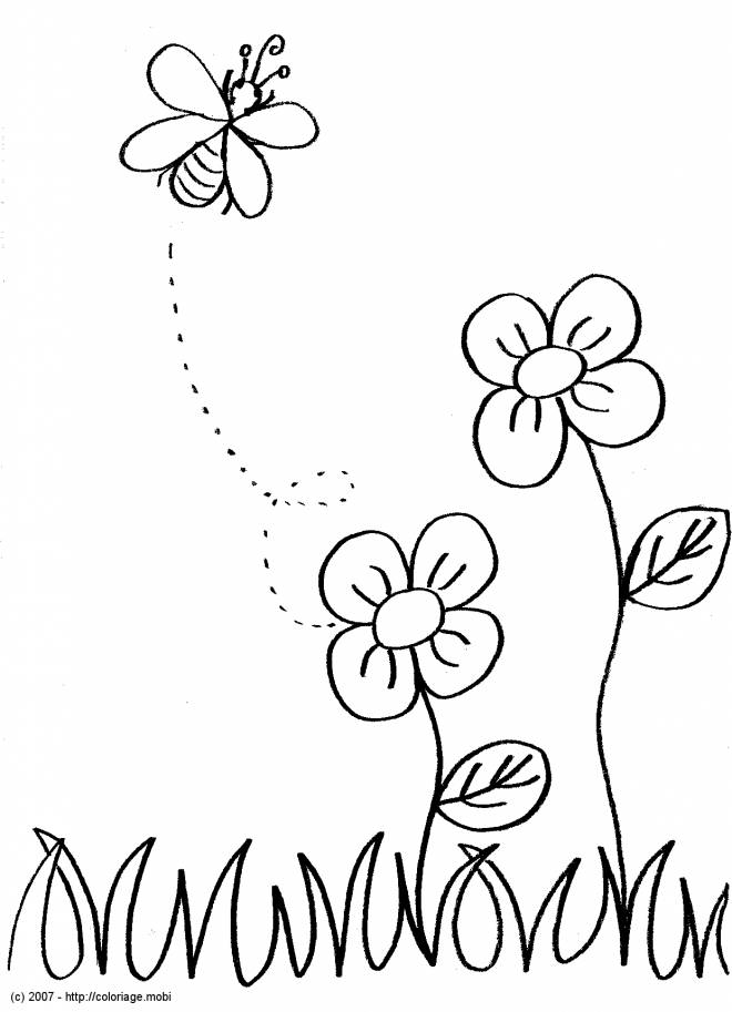 Free coloring and drawings Bee in color Coloring page