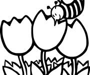 Free coloring and drawings Bee in Spring Coloring page