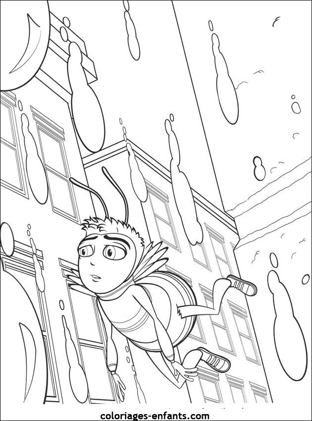Free coloring and drawings Bee in the City Coloring page