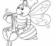 Coloring pages Bee prepares honey