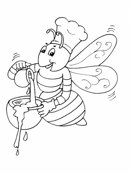 Free coloring and drawings Bee prepares honey Coloring page