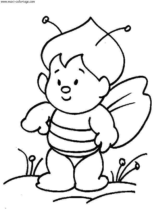 Free coloring and drawings Bee-shaped child Coloring page