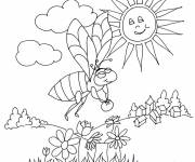 Free coloring and drawings Bee under the sun Coloring page