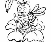 Coloring pages Bee working on the Rose