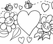 Free coloring and drawings Bees and heart Coloring page