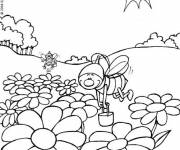 Free coloring and drawings Bees at work Coloring page