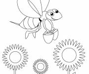 Coloring pages Bees carry buckets at work