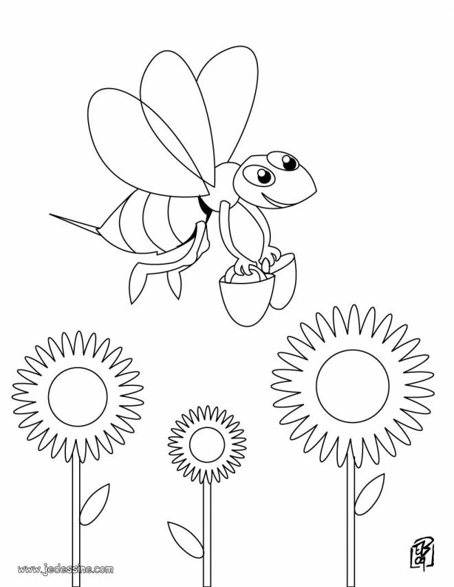 Free coloring and drawings Bees carry buckets at work Coloring page
