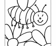 Coloring pages Bees on Flowers