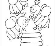 Coloring pages Bees on The Beehive