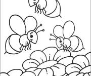 Free coloring and drawings Bees to decorate Coloring page