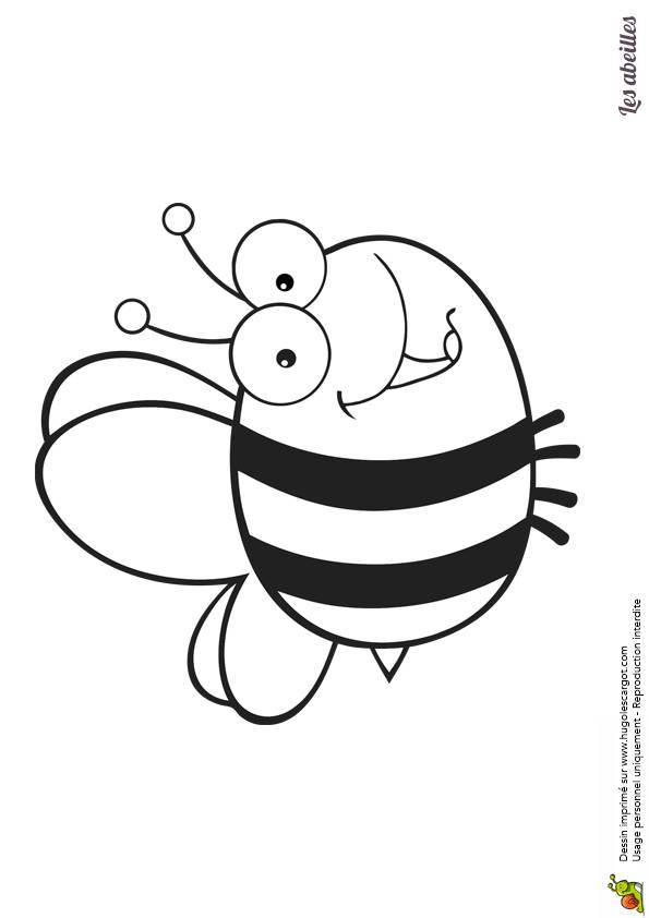 Free coloring and drawings Big Bee who smiles Coloring page