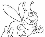 Coloring pages Cartoon smiling bees