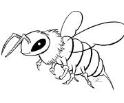 Coloring pages Maternal bee in black