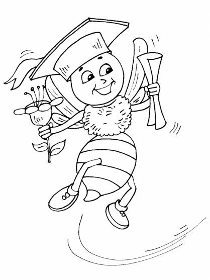 Free coloring and drawings Student bees Coloring page