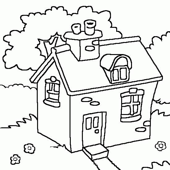Free coloring and drawings A house in the countryside Coloring page