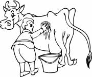 Free coloring and drawings Farmer and his cow Coloring page