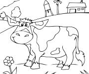 Free coloring and drawings Happy cow in the countryside Coloring page