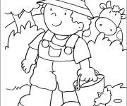 Coloring pages Little Farmer in The Countryside