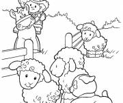 Free coloring and drawings Little Farmer with his Animals Coloring page