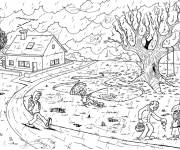 Coloring pages Rainy day countryside
