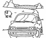 Coloring pages The car in the countryside