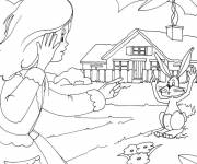 Coloring pages The little girl and her rabbit in the countryside