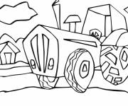 Free coloring and drawings Tractor in the countryside Coloring page
