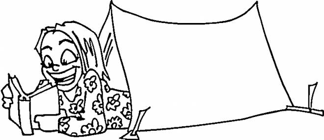 Free coloring and drawings a girl is reading in her Camping tent Coloring page